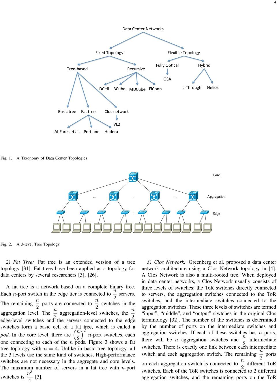 Fat trees have been applied as a topology for data centers by several researchers [3], [26]. A fat tree is a network based on a complete binary tree.