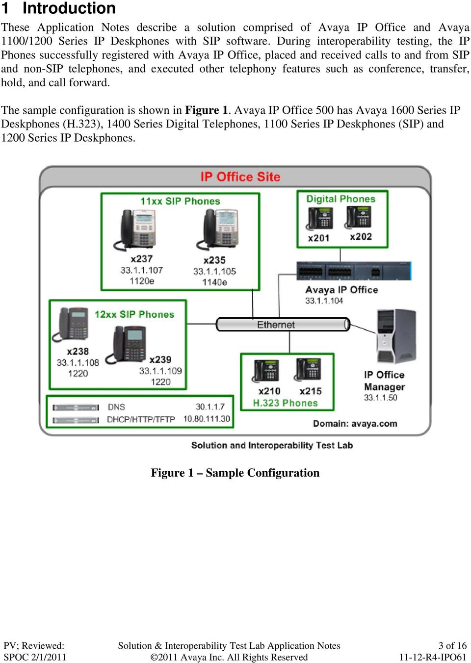 and executed other telephony features such as conference, transfer, hold, and call forward. The sample configuration is shown in Figure 1.