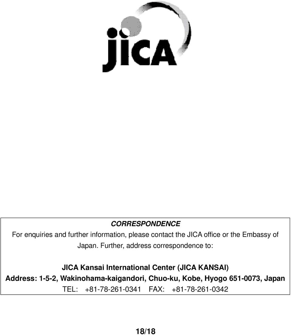 Further, address correspondence to: JICA Kansai International Center (JICA