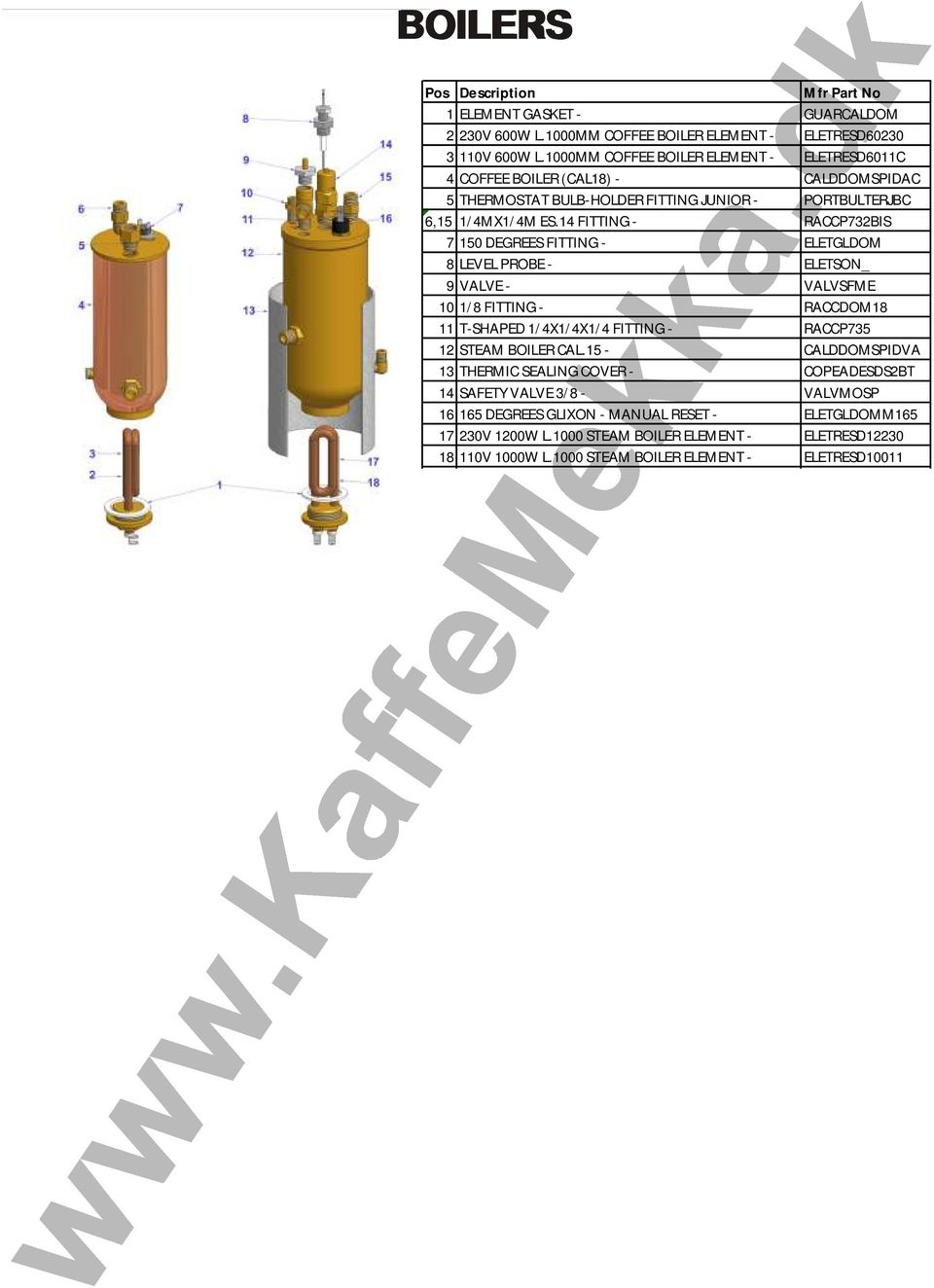 14 FITTING - RACCP732BIS 7 150 DEGREES FITTING - ELETGLDOM 8 LEVEL PROBE - ELETSON_ 9 VALVE - VALVSFME 10 1/8 FITTING - RACCDOM18 11 T-SHAPED 1/4X1/4X1/4 FITTING - RACCP735 12 STEAM