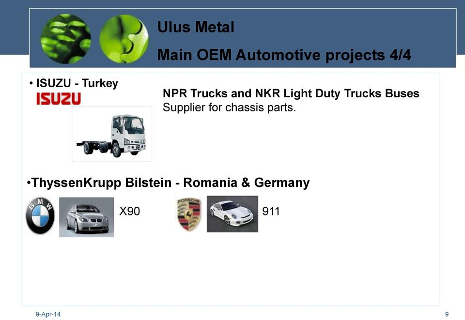 Trucks Buses Supplier for chassis parts.