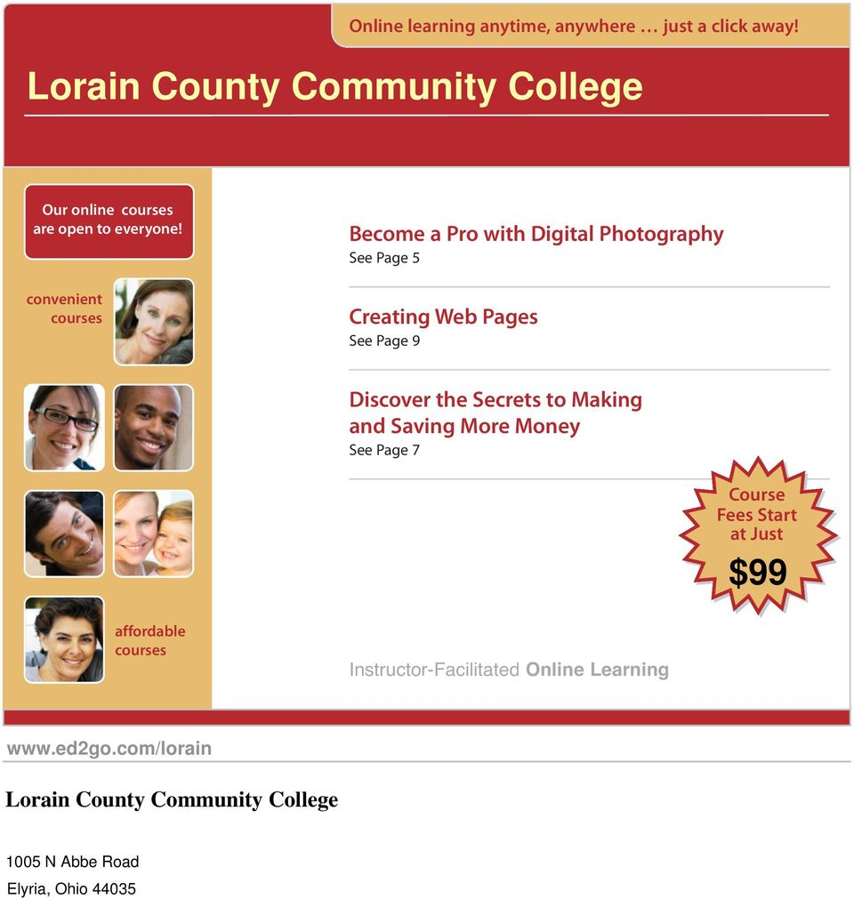 convenient courses Become a Pro with Digital Photography See Page 5 Creating Web Pages See