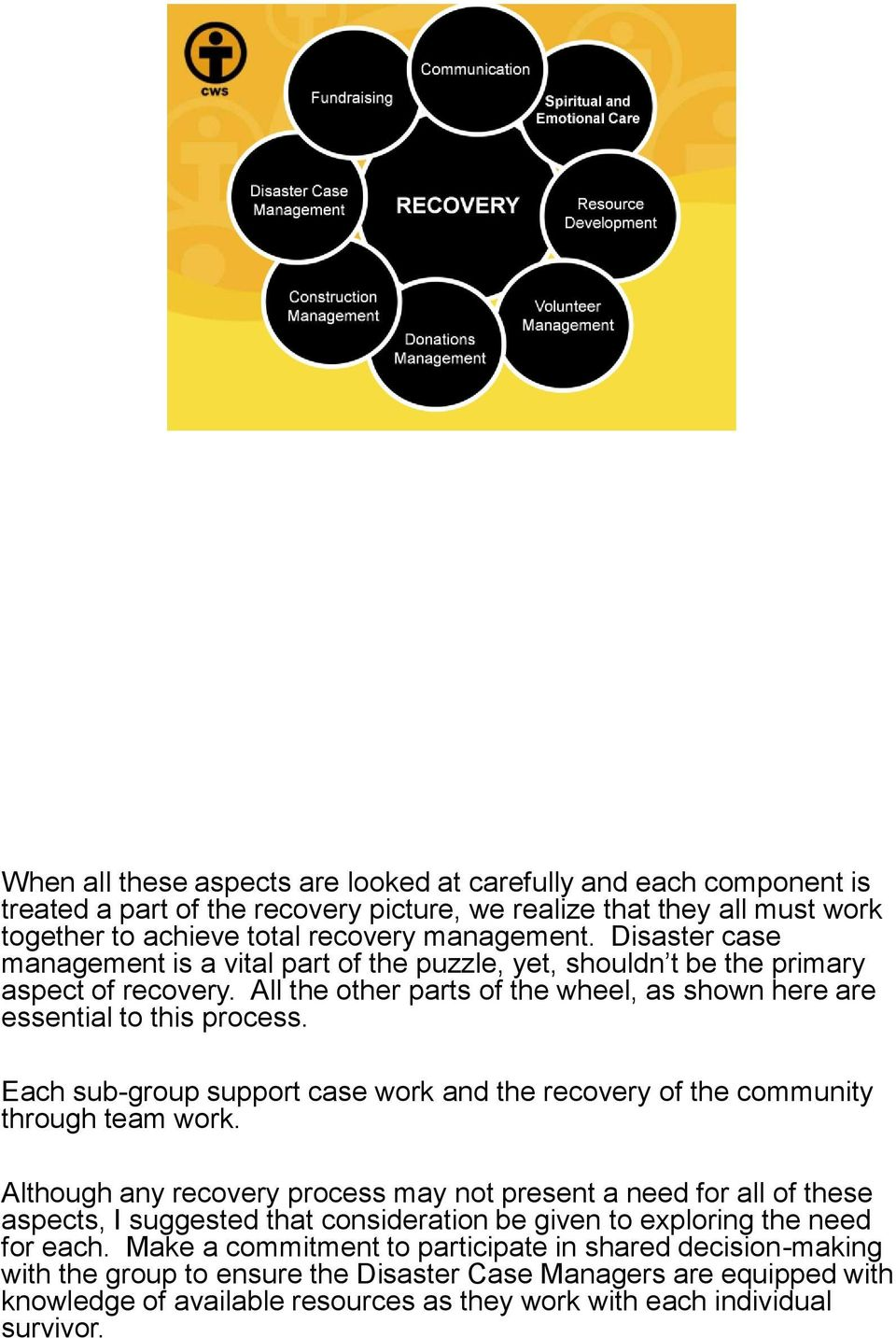 Each sub-group support case work and the recovery of the community through team work.