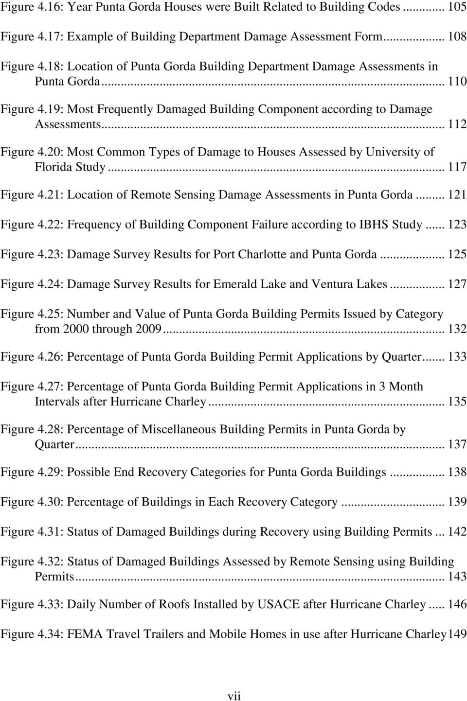 20: Most Common Types of Damage to Houses Assessed by University of Florida Study... 117 Figure 4.21: Location of Remote Sensing Damage Assessments in Punta Gorda... 121 Figure 4.