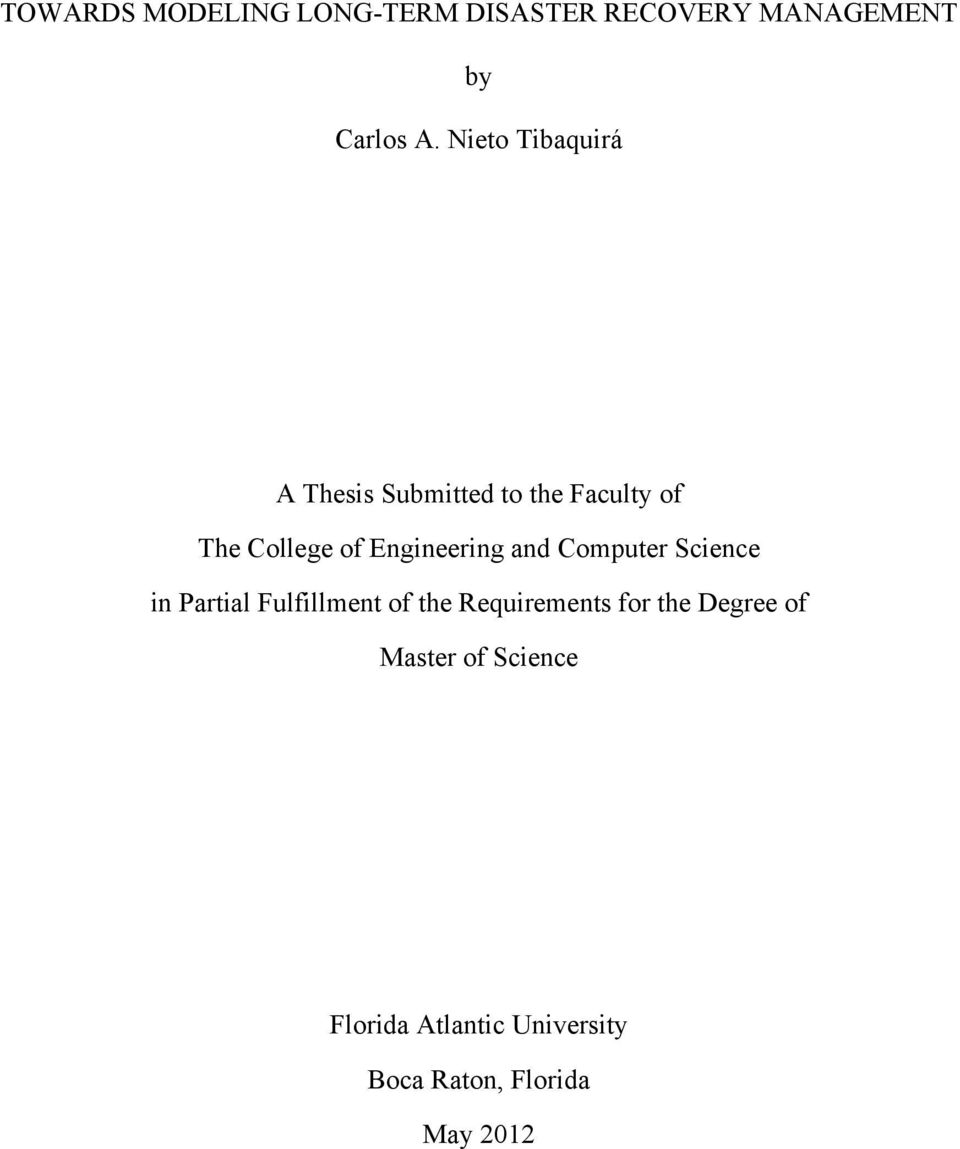 Engineering and Computer Science in Partial Fulfillment of the Requirements