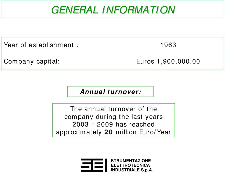 00 Annual turnover: The annual turnover of the