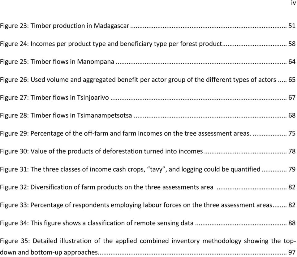 .. 68 Figure 29: Percentage of the off-farm and farm incomes on the tree assessment areas.... 75 Figure 30: Value of the products of deforestation turned into incomes.