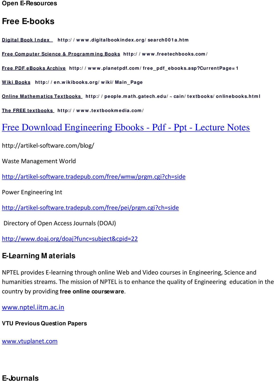 Free Download Engineering Ebooks - Pdf - Ppt - Lecture Notes