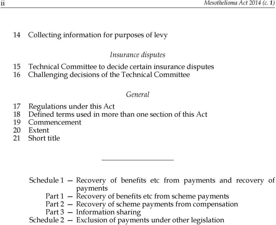 decisions of the Technical Committee General 17 Regulations under this Act 18 Defined terms used in more than one section of this Act 19 Commencement 20