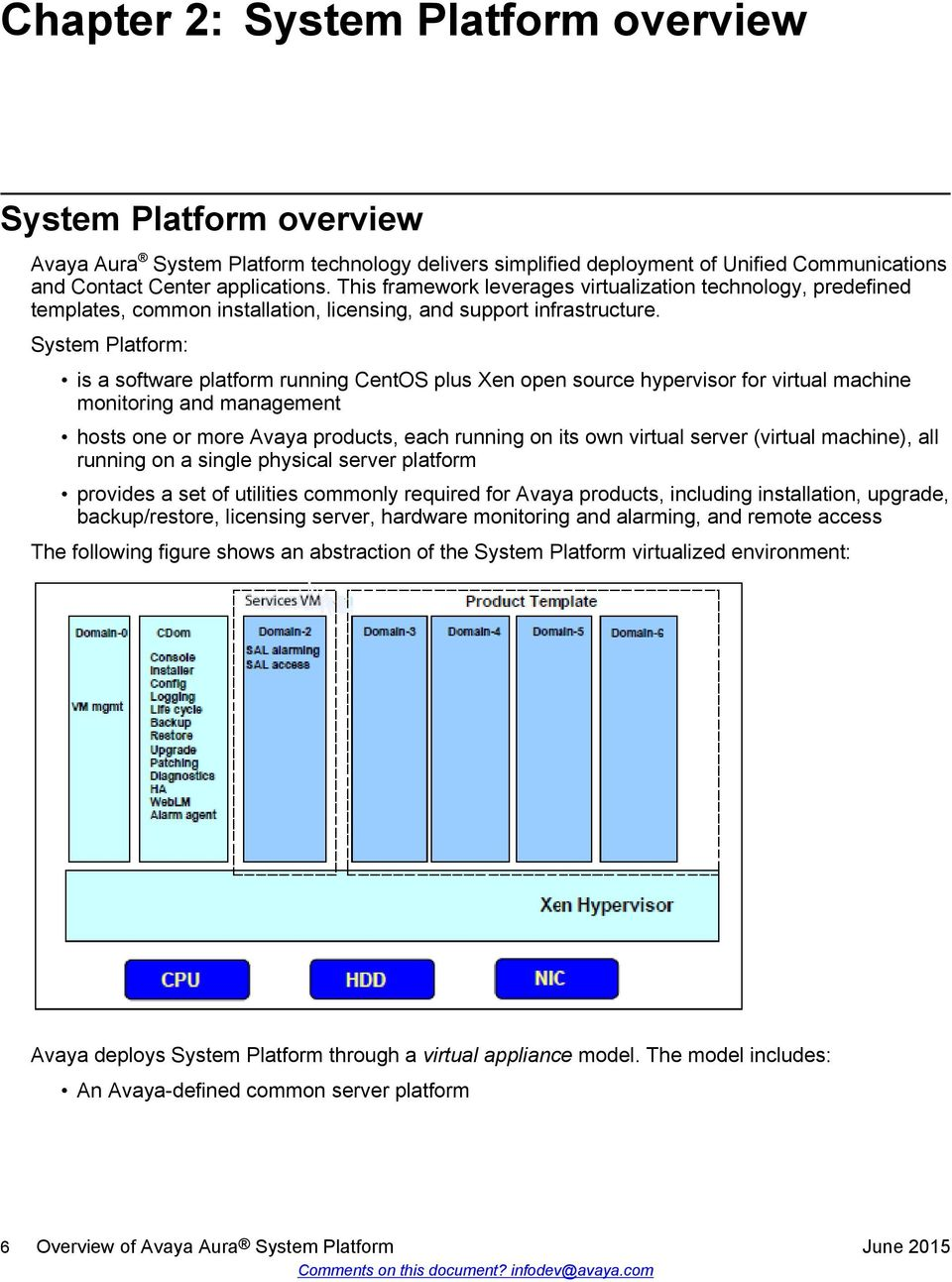 System Platform: is a software platform running CentOS plus Xen open source hypervisor for virtual machine monitoring and management hosts one or more Avaya products, each running on its own virtual