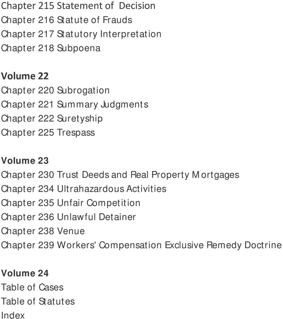 Deeds and Real Property Mortgages Chapter 234 Ultrahazardous Activities Chapter 235 Unfair Competition Chapter 236 Unlawful
