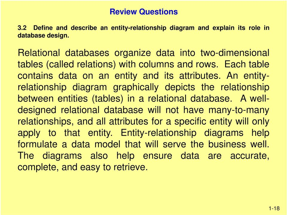 An entityrelationship diagram graphically depicts the relationship between entities (tables) in a relational database.