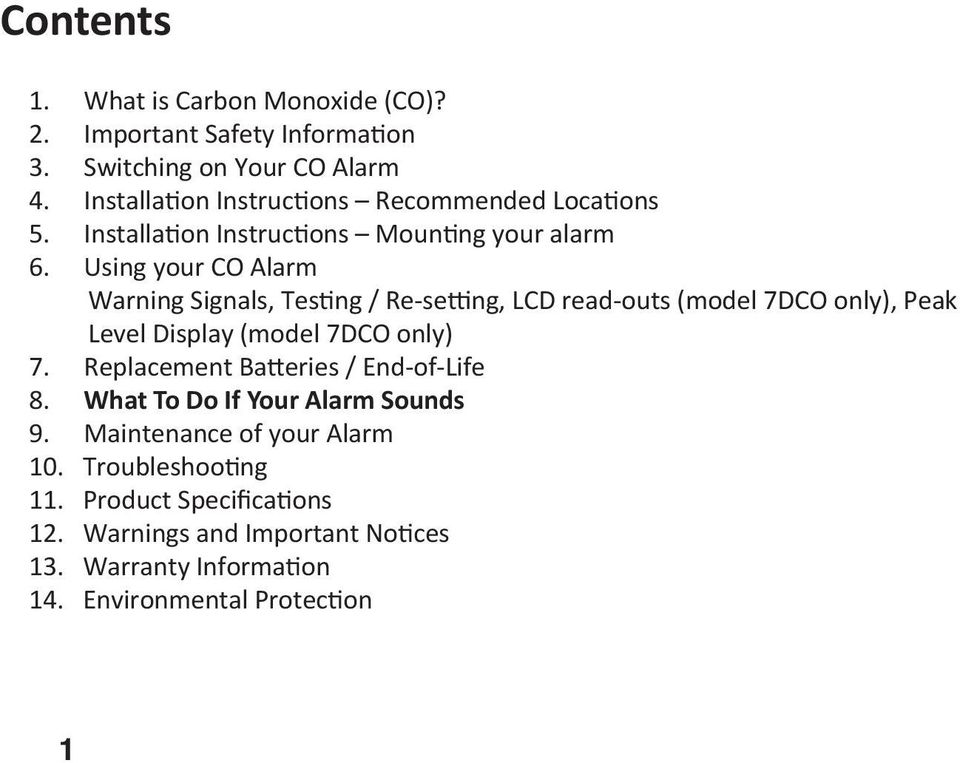 Using your CO Alarm Warning Signals, Tes ng / Re-se ng, LCD read-outs (model 7DCO only), Peak Level Display (model 7 DCO only) 7.