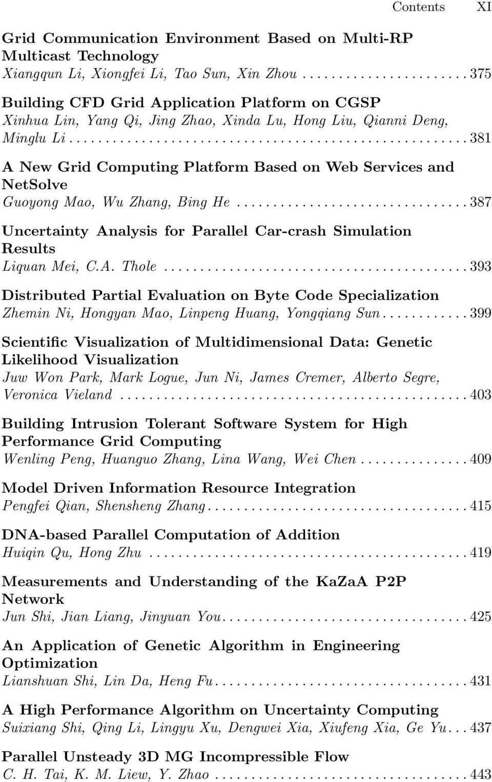 ..381 A New Grid Computing Platform Based on Web Services and NetSolve Guoyong Mao, Wu Zhang, Bing He...387 Uncertainty Analysis for Parallel Car-crash Simulation Results Liquan Mei, C.A. Thole.
