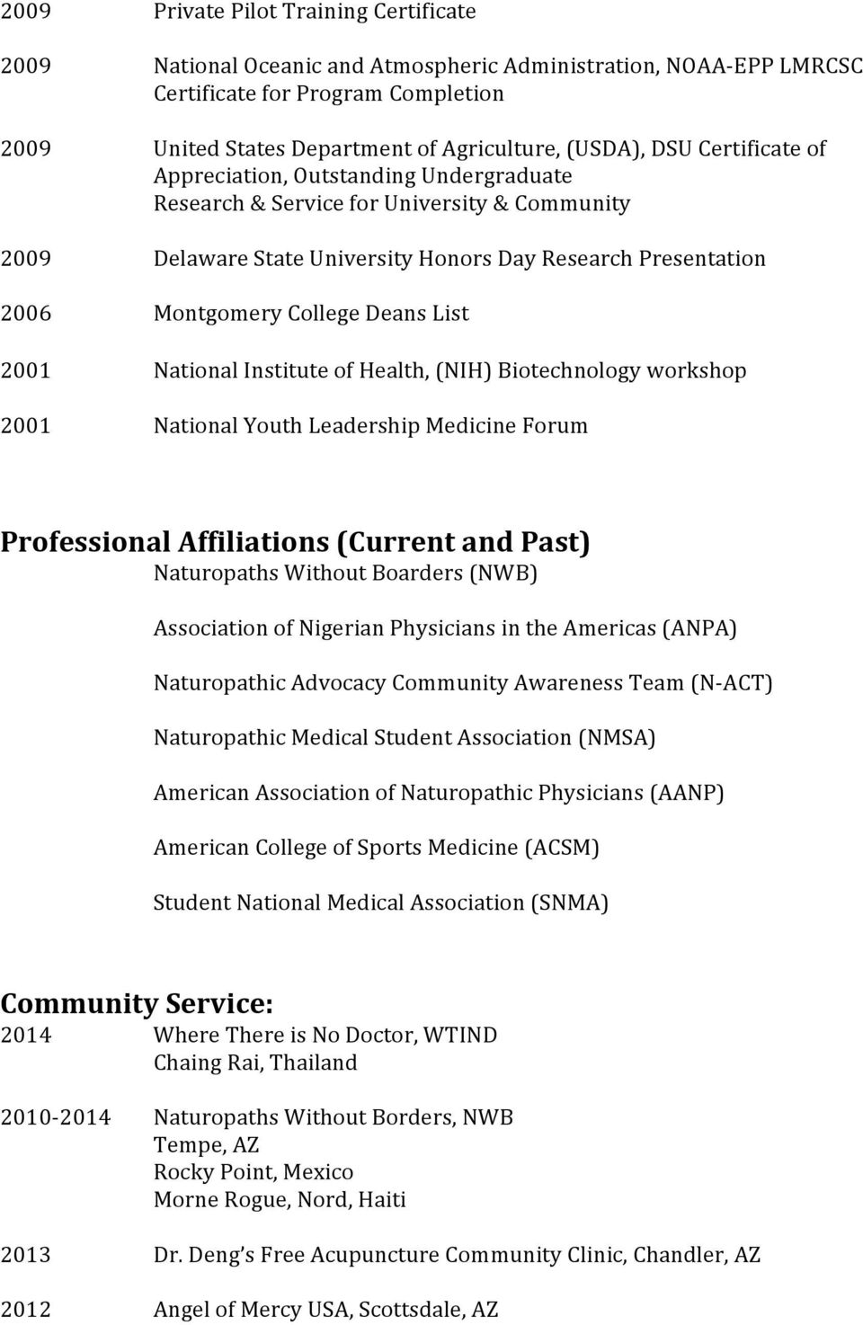 List 2001 National Institute of Health, (NIH) Biotechnology workshop 2001 National Youth Leadership Medicine Forum Professional Affiliations (Current and Past) Naturopaths Without Boarders (NWB)