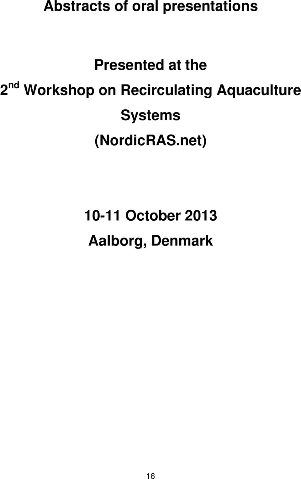 Aquaculture Systems (NordicRAS.