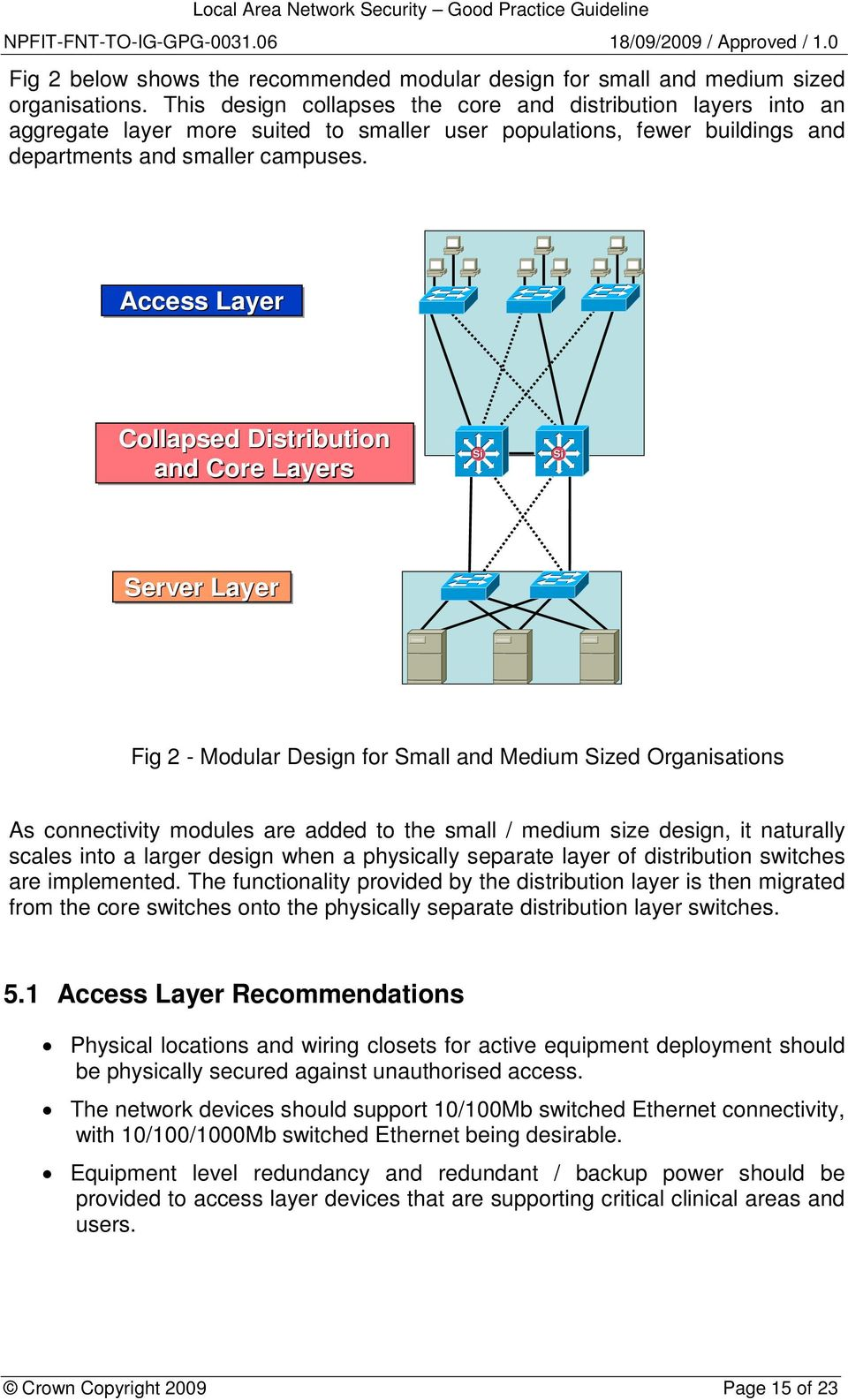 Access Layer Collapsed Distribution and Core Layers Si Si Server Layer Fig 2 - Modular Design for Small and Medium Sized Organisations As connectivity modules are added to the small / medium size