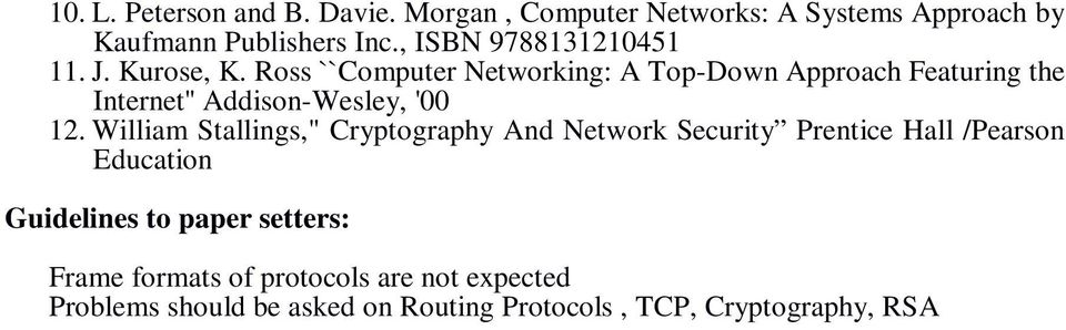 Ross ``Computer Networking: A Top-Down Approach Featuring the Internet'' Addison-Wesley, '00 12.