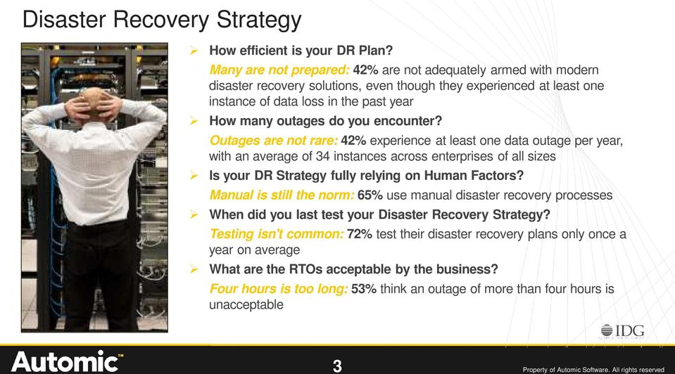 encounter? Outages are not rare: 42% experience at least one data outage per year, with an average of 34 instances across enterprises of all sizes Is your DR Strategy fully relying on Human Factors?
