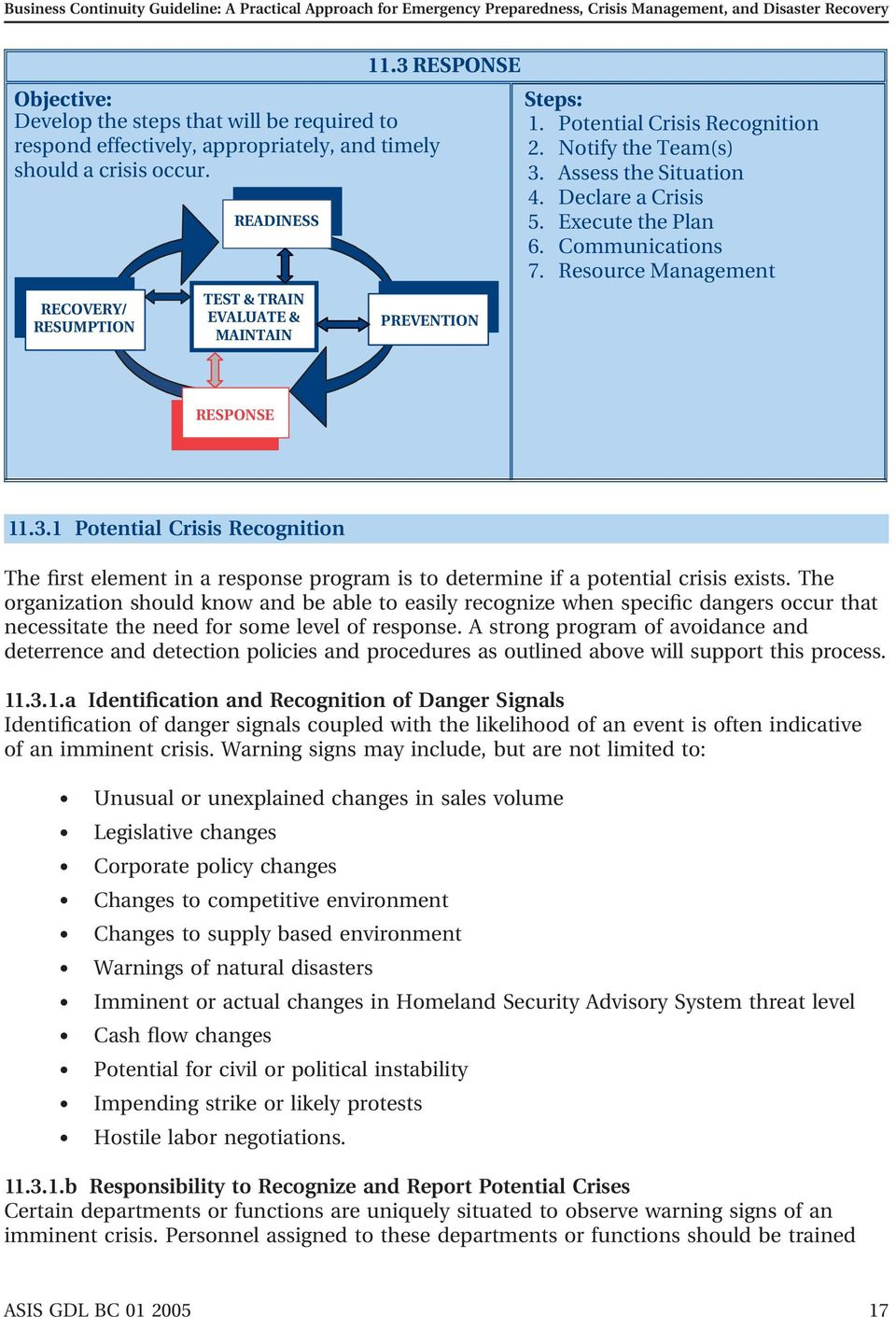 3.1 Potential Crisis Recognition The first element in a response program is to determine if a potential crisis exists.
