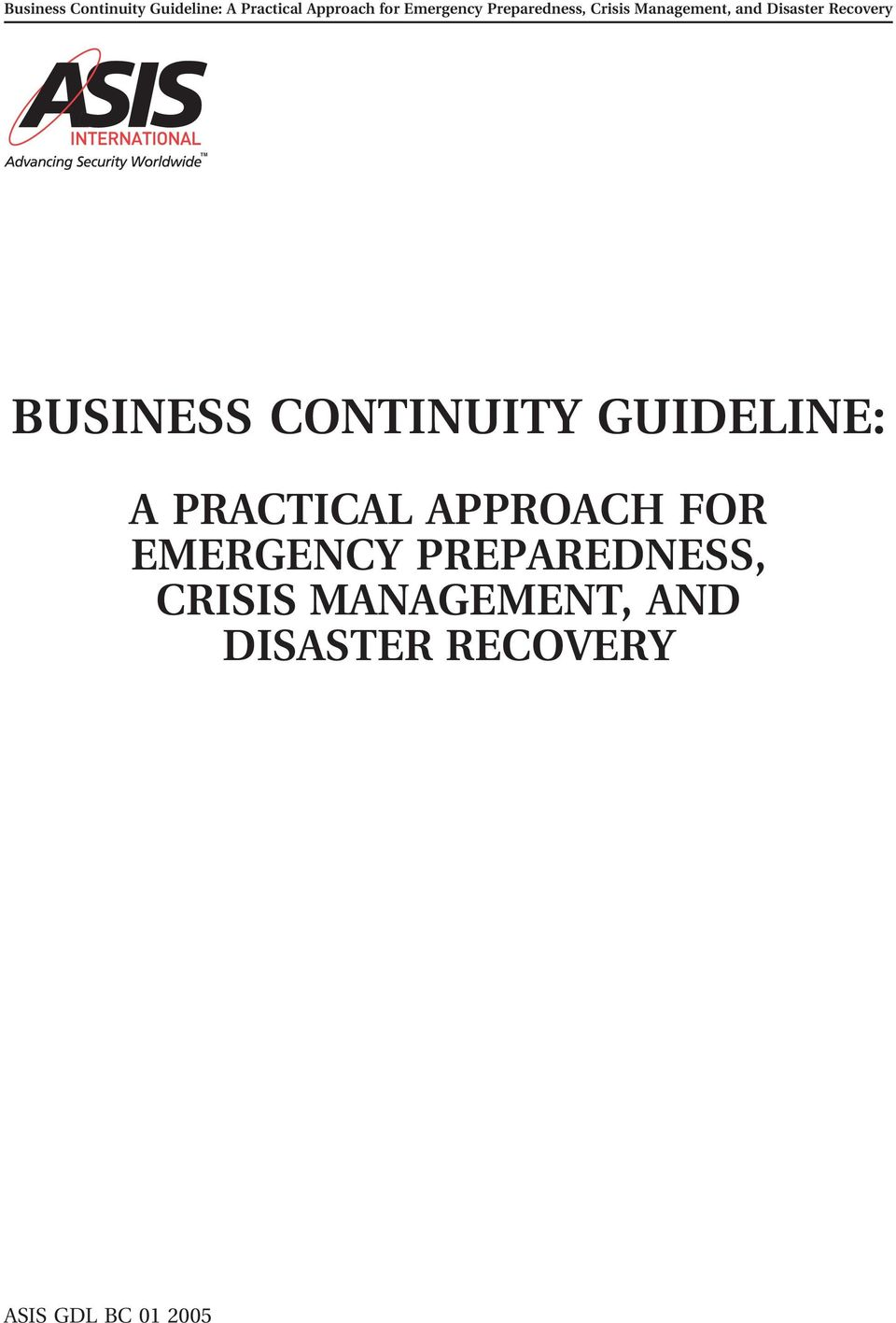 PREPAREDNESS, CRISIS MANAGEMENT,