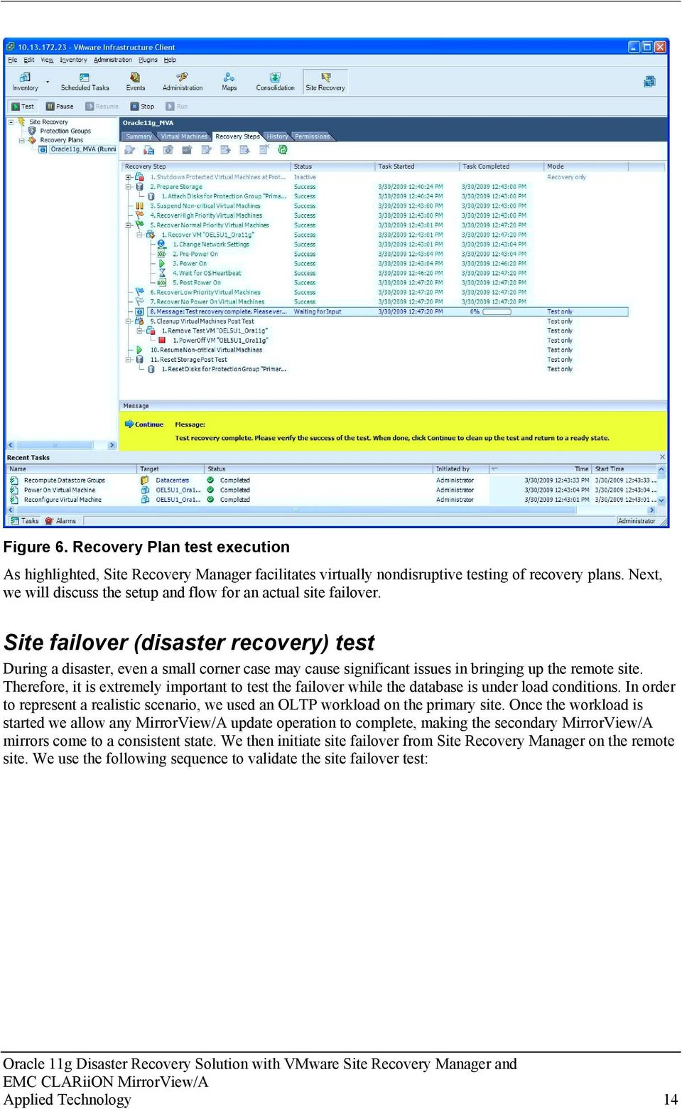 Site failover (disaster recovery) test During a disaster, even a small corner case may cause significant issues in bringing up the remote site.