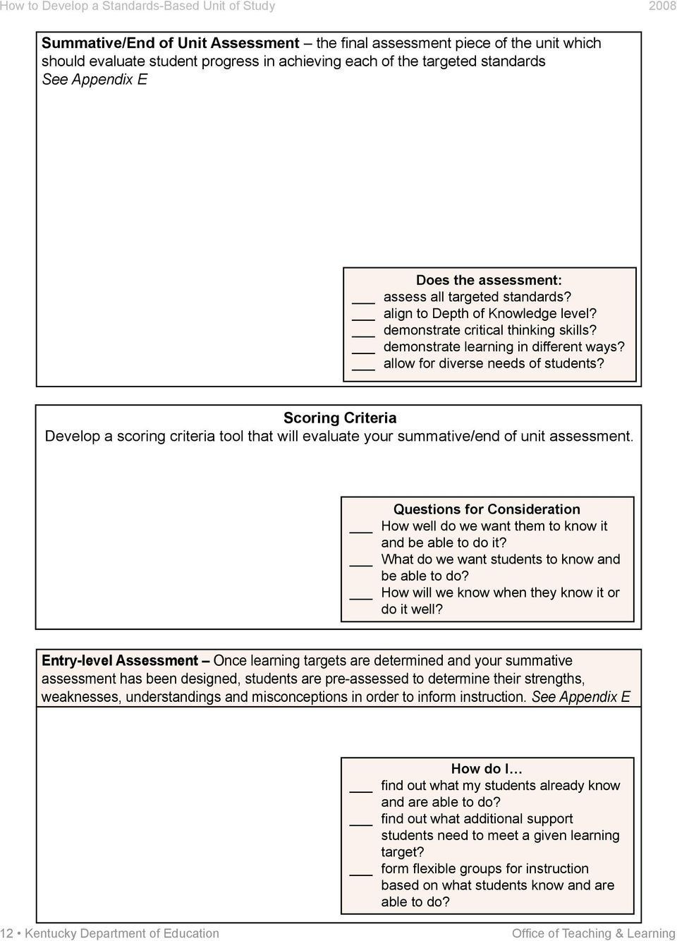 Scoring Criteria Develop a scoring criteria tool that will evaluate your summative/end of unit assessment. Questions for Consideration How well do we want them to know it and be able to do it?