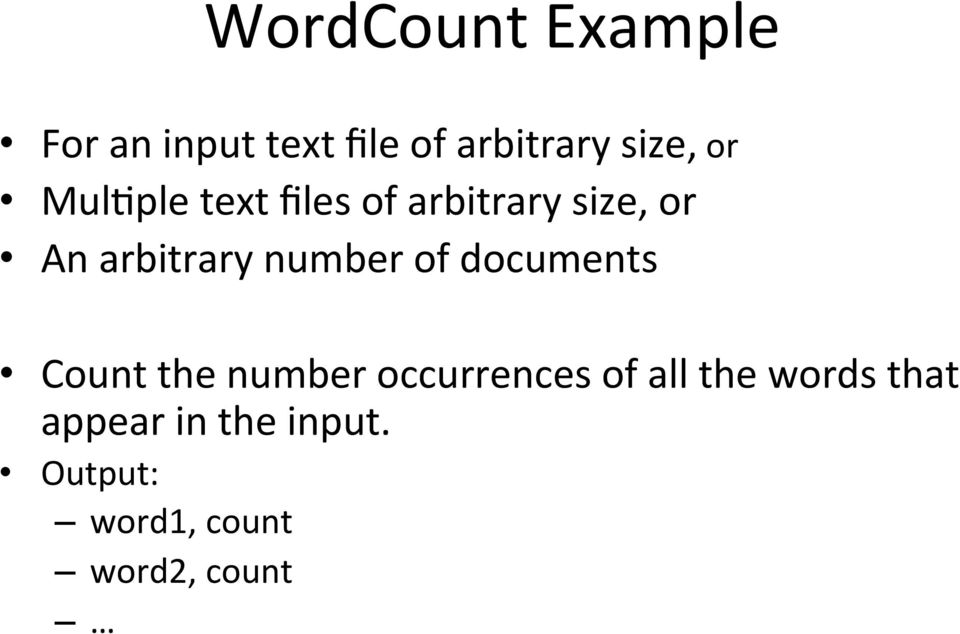 number of documents Count the number occurrences of all the