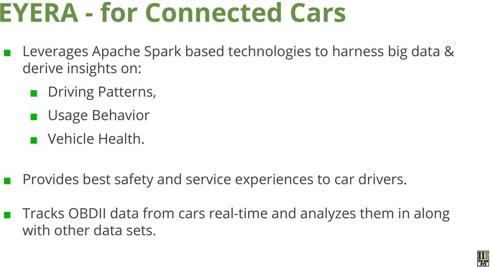 Vehicle Health. Provides best safety and service experiences to car drivers.