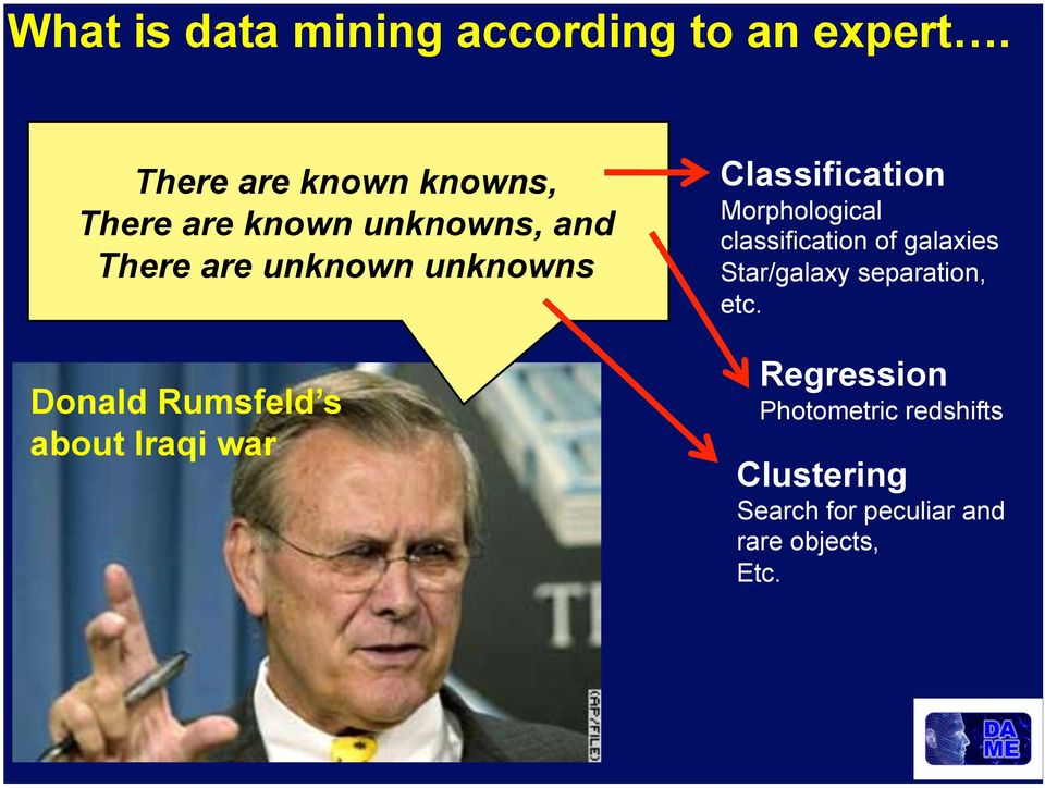 Donald Rumsfeld s about Iraqi war Classification Morphological classification of