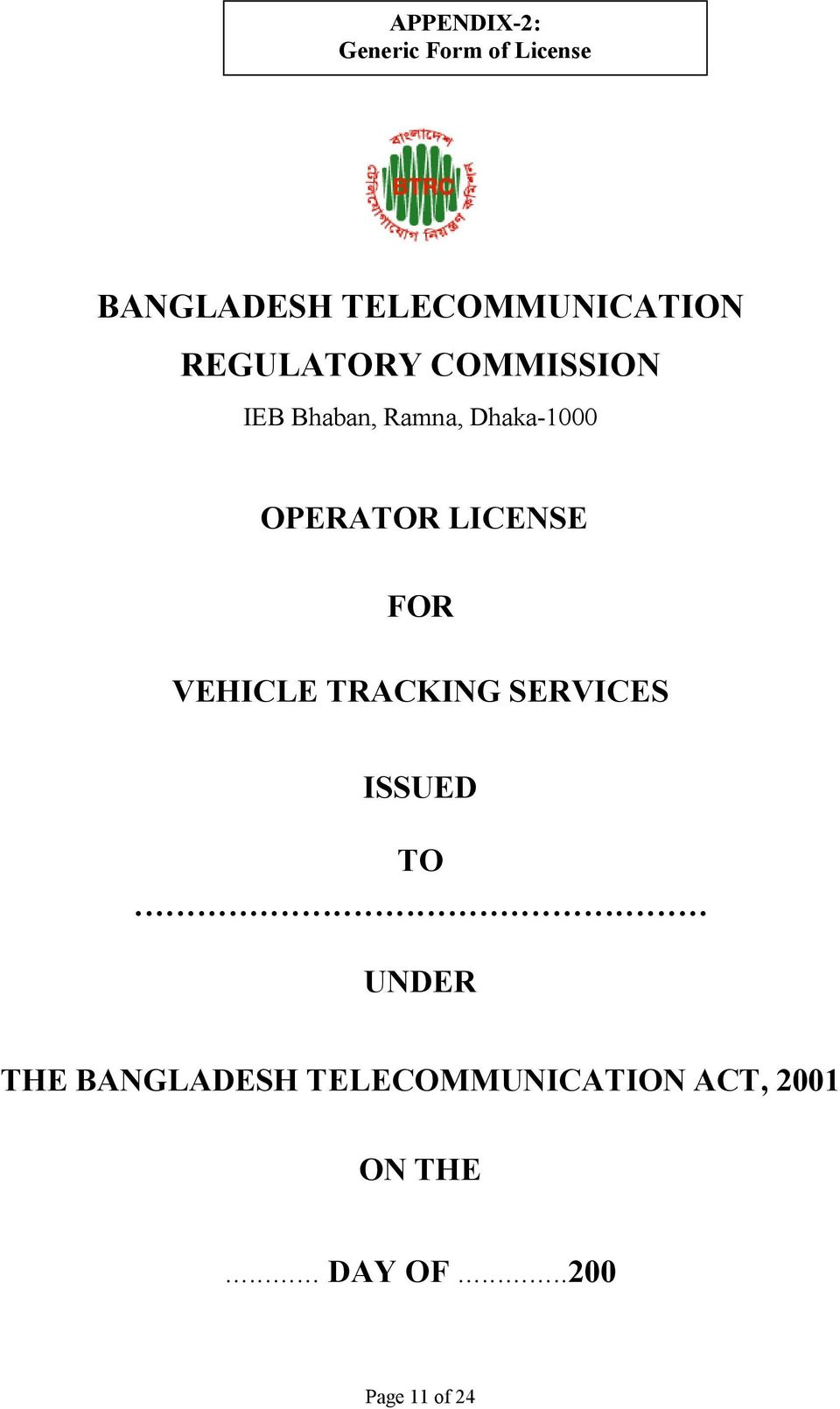 LICENSE FOR VEHICLE TRACKING SERVICES ISSUED TO.