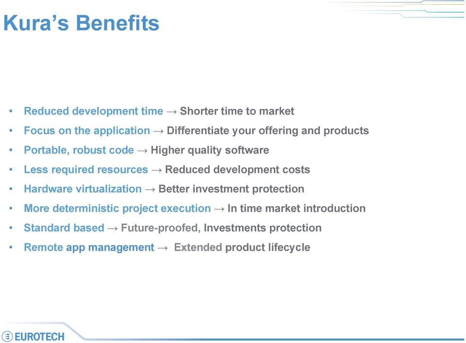 costs Hardware virtualization Better investment protection More deterministic project execution In time market