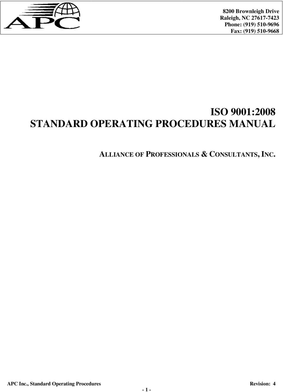 9001:2008 STANDARD OPERATING PROCEDURES MANUAL
