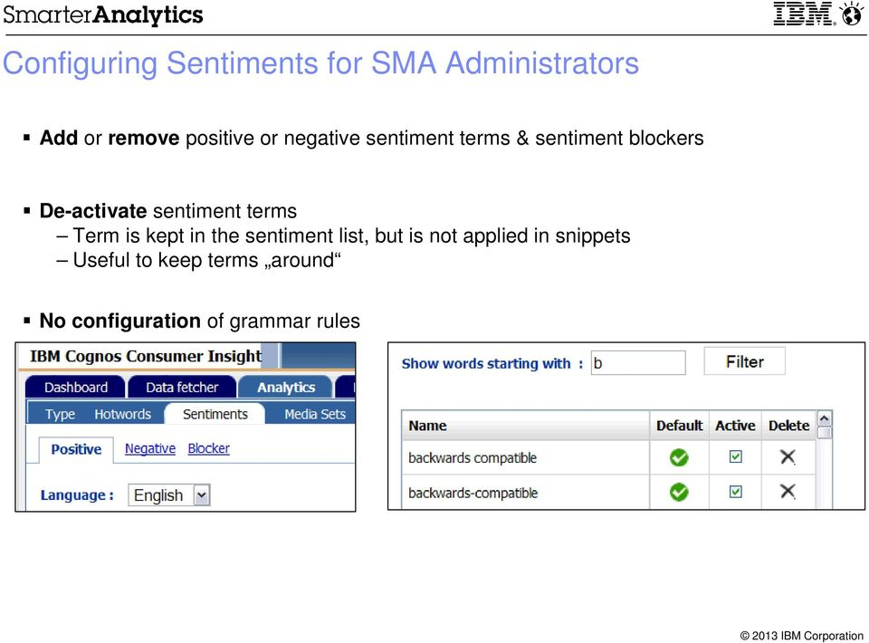sentiment terms Term is kept in the sentiment list, but is not
