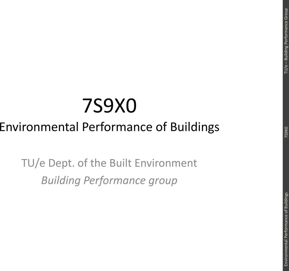 Performance group Environmental Performance of