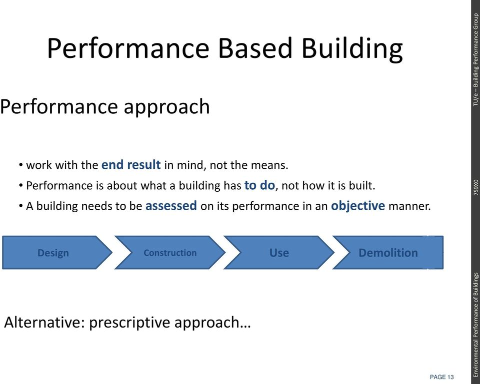 Performance is about what a building has to do, not how it is built.