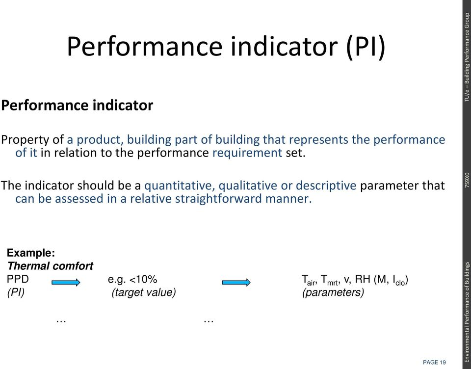 The indicator should be a quantitative, qualitative or descriptive parameter that can be assessed in a