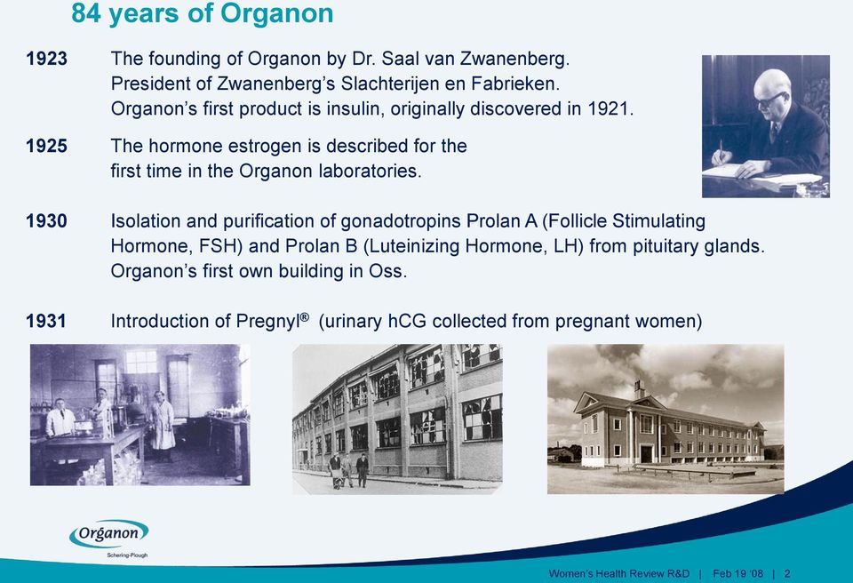 1925 The hormone estrogen is described for the first time in the Organon laboratories.