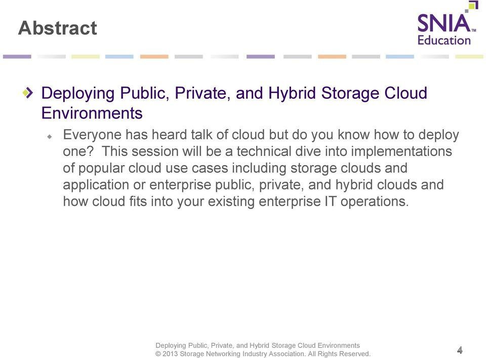 This session will be a technical dive into implementations of popular cloud use cases including