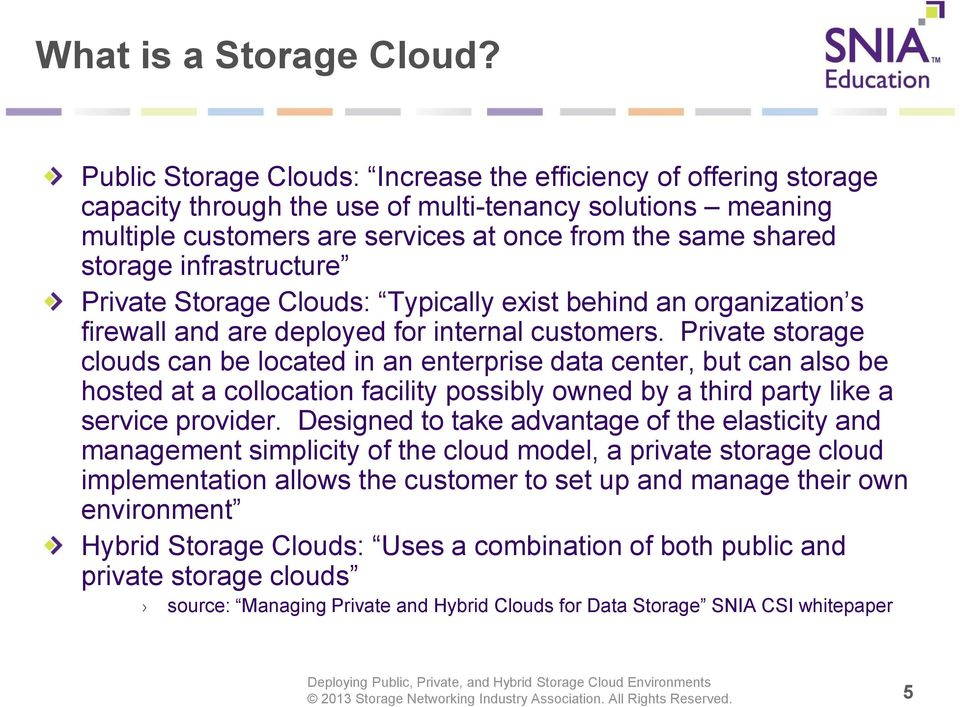 infrastructure Private Storage Clouds: Typically exist behind an organization s firewall and are deployed for internal customers.