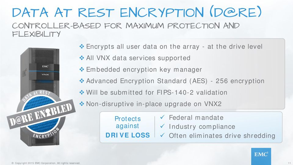 Encryption Standard (AES) - 256 encryption Will be submitted for FIPS-140-2 validation Non-disruptive in-place