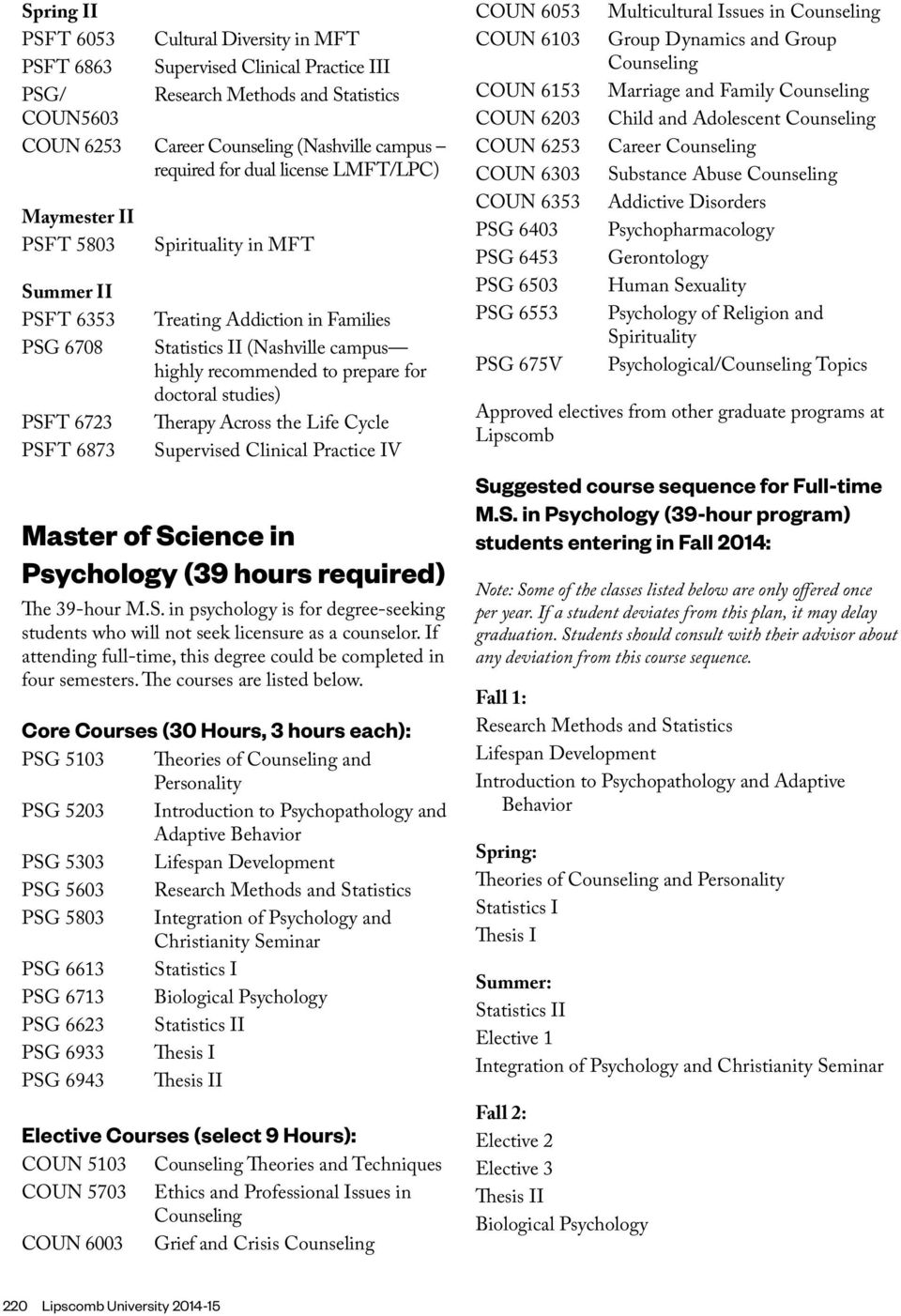 doctoral studies) Therapy Across the Life Cycle Supervised Clinical Practice IV Master of Science in Psychology (39 hours required) The 39-hour M.S. in psychology is for degree-seeking students who will not seek licensure as a counselor.