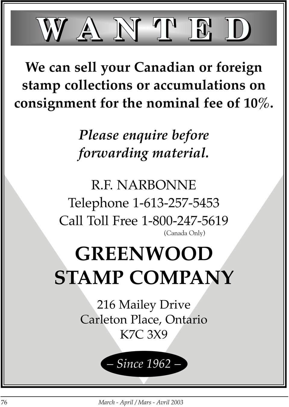 NARBONNE Telephone 1-613-257-5453 Call Toll Free 1-800-247-5619 GREENWOOD STAMP COMPANY 216