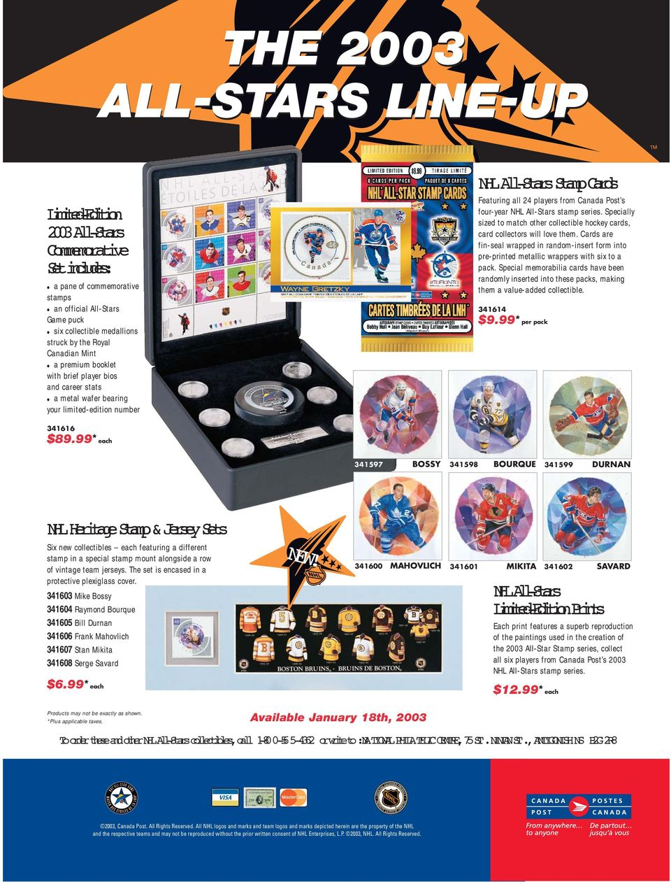 NHL All-Stars stamp series. Specially sized to match other collectible hockey cards, card collectors will love them.