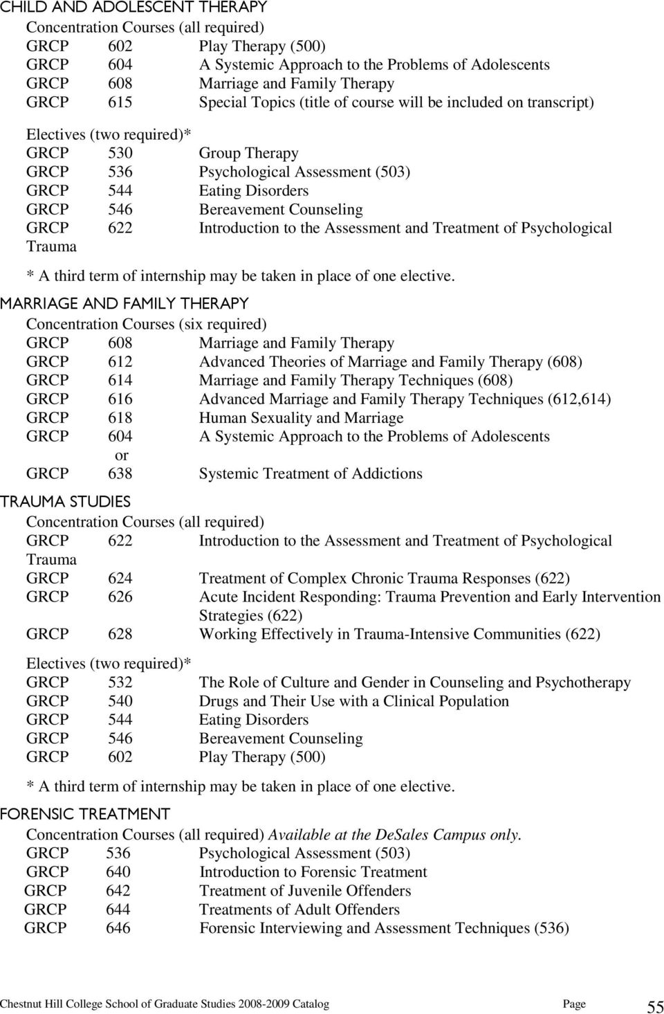 Counseling GRCP 622 Introduction to the Assessment and Treatment of Psychological Trauma * A third term of internship may be taken in place of one elective.