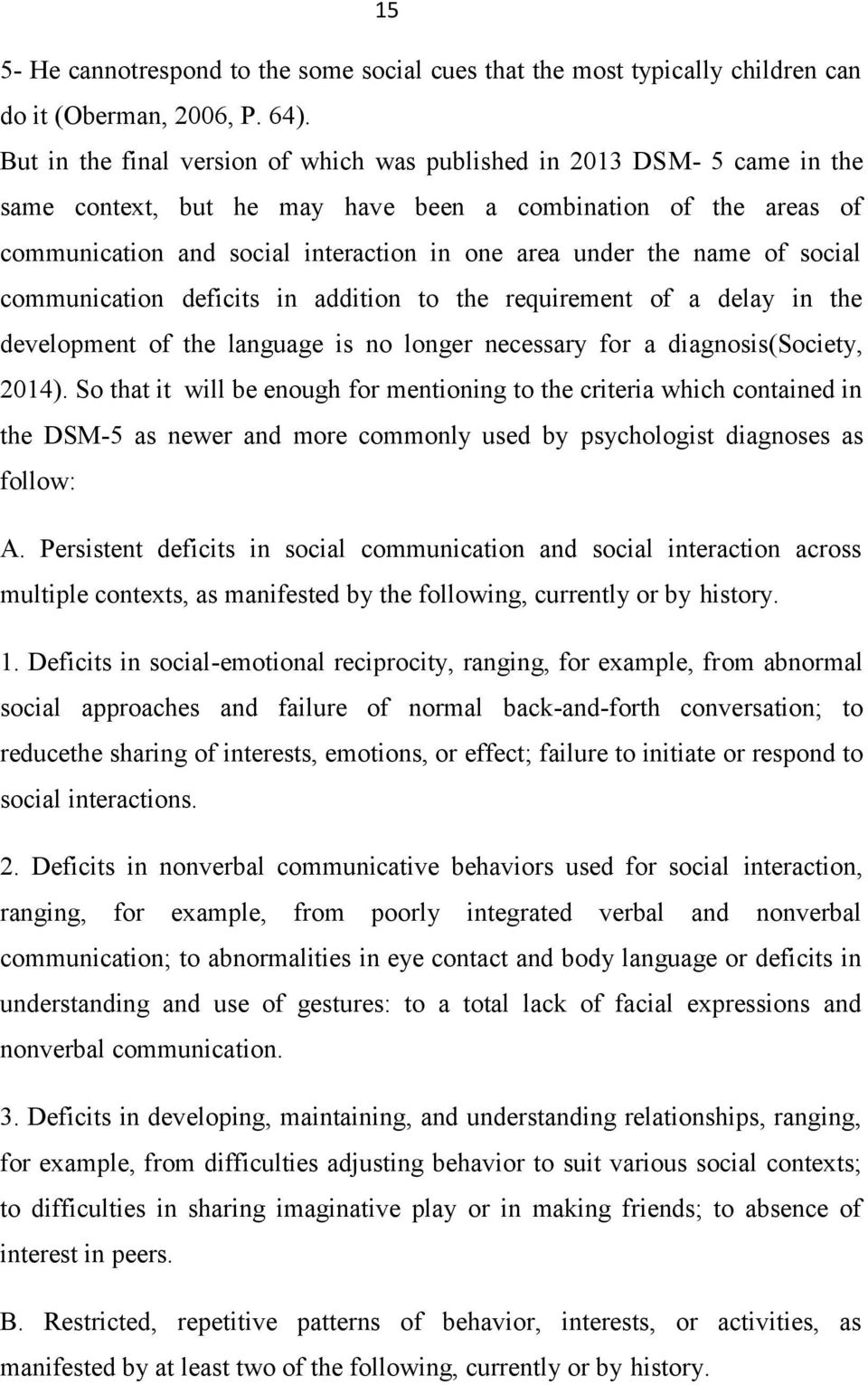 name of social communication deficits in addition to the requirement of a delay in the development of the language is no longer necessary for a diagnosis(society, 2014).