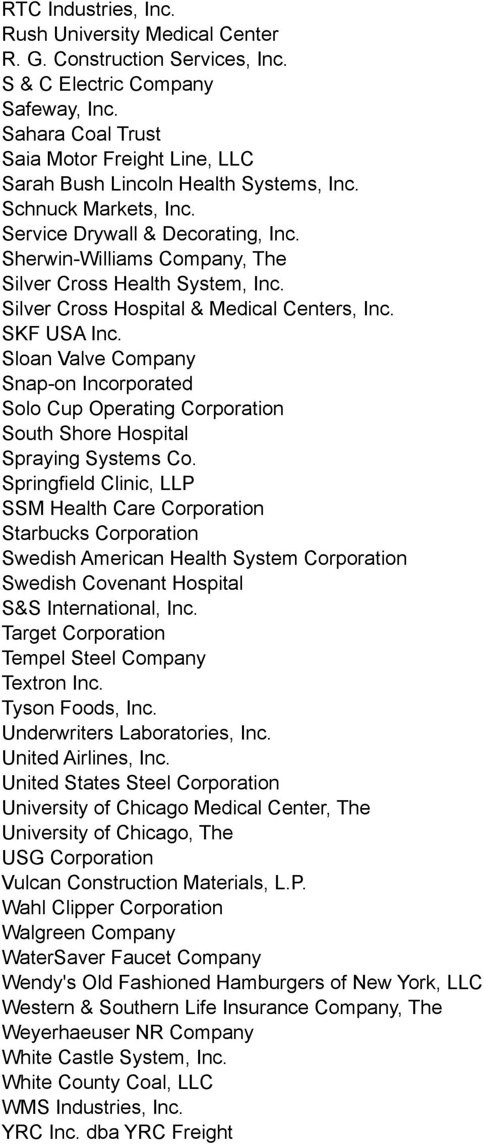 Sherwin-Williams Company, The Silver Cross Health System, Inc. Silver Cross Hospital & Medical Centers, Inc. SKF USA Inc.