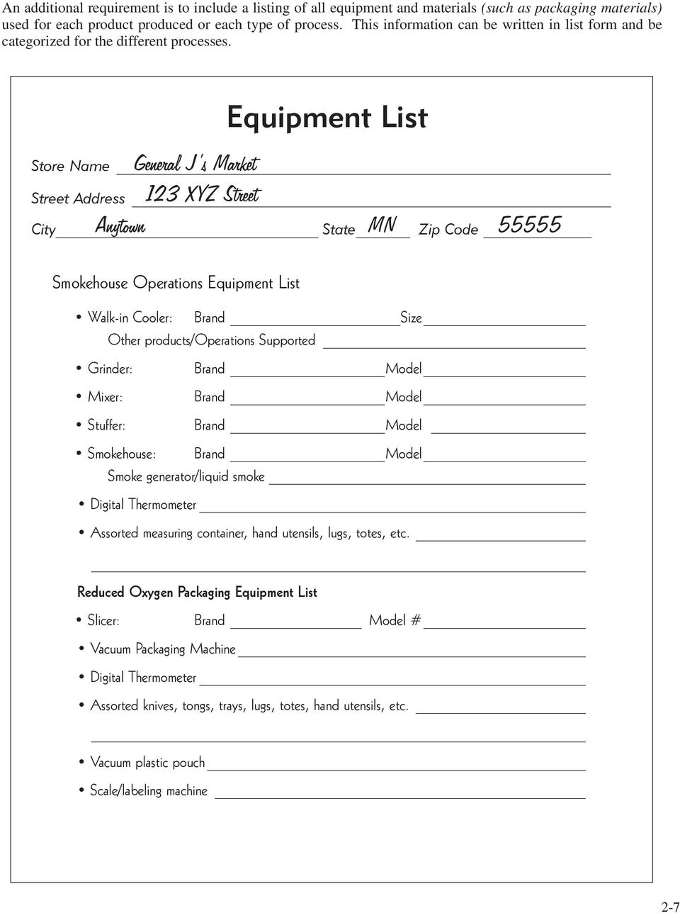 Equipment List General J s Market 123 XYZ Street Anytown MN 55555 Store Name Street Address City State Zip Code Smokehouse Operations Equipment List Walk-in Cooler: Brand Size Other