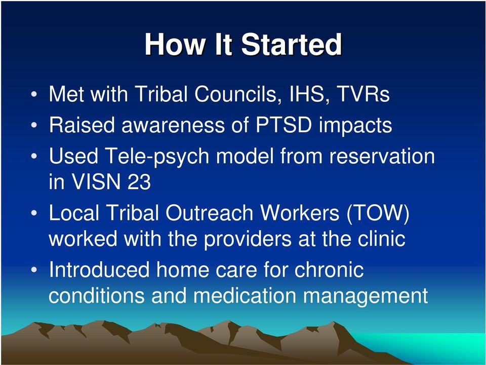 Local Tribal Outreach Workers (TOW) worked with the providers at the