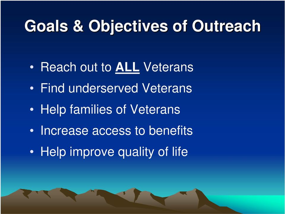 Help families of Veterans Increase access